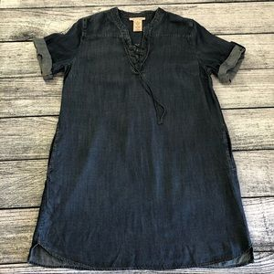 Philosophy, denim tencel, lace-up tunic, NWT, XL